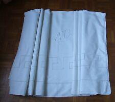 GRAND DRAP ANCIEN Brodé jours Venise, arabesques et monogramme  AD - 3 x 2,20 m