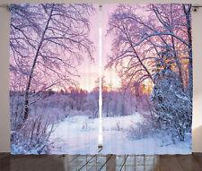 Landscape Curtains Braches Snowy Sunset Window Drapes 2 Panel Set 108x84 Inches