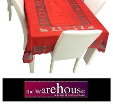 RED TABLE CLOTH 150x265cm 8-SEATER RECTANGLE POLYESTER LACE TABLECLOTH