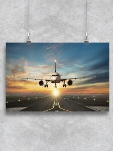 Airplane Landing On Airport Poster -Image by Shutterstock