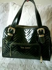 Genuine Ted Baker Black Patent Quilted Tote Bag-Good Condition