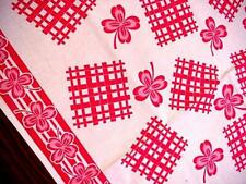 Vintage SHAMROCK Red & White Cottage Tablecloth 4 NAPKINS St. Patrick's Day NICE