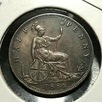 1886 GREAT BRITAIN 1/2 PENNY NEAR UNCIRCULATED COIN