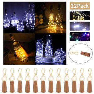 12X Bottle Fairy String Lights Battery Cork Shaped XMAS Wedding Party 10 LED