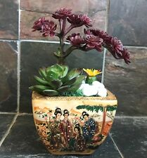 Artificial Green Grass Succulent Planter in a Satsuma Bowl with Geishas