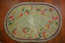 Vintage Hand Hooked Oval Rug Floral Muted Colors Distressed Small 33 x 23