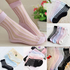 HOT Striped Ultra Thin Transparent Crystal Lace Sock Short Ankle Socks Nice New#