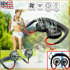 Portable Neckband Dual Cooling Mini Fan USB Rechargeable Lazy Neck Hanging Style