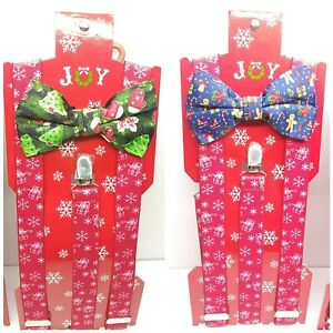 JOY Men's Christmas Tree 2-Pc. Suspenders & Bow Tie Set NWT