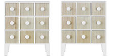 Slim Mini Free Standing Cabinet with 9 Drawers in White and Pine TWIN PACK