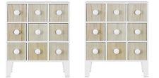 Fin Mini support libre armoire with 9 tiroirs en blanc et Pin paquet double