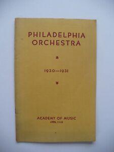 1931 ARTHUR LOURI, JOSEF HOFMANN PHILADELPHIA ORCHESTRA CONCERT MUSIC PROGRAM
