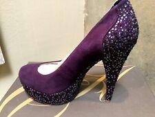 Enzo Angiolini BECCALYNN suede evening prom  pump Dark Purple beaded shoes 7,5