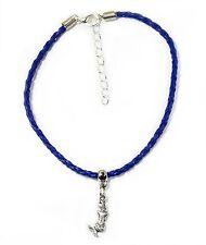 "Gypsy Anklet Navy Blue Plaited Leather Mermaid Charm 24cm 9.4"" Australia Made"