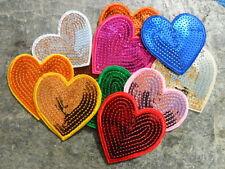 Aufbügler Herz mit Pailletten 70 mm 7 cm Aufnäher Applikation Farbwahl Deko