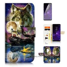 ( For Samsung S9 ) Wallet Case Cover P21448 Wolf