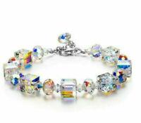 Exquisite 925 Silver Mystic Rainbow Topaz Bracelet Bangle Suit Women Jewelry
