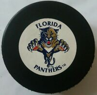 FLORIDA PANTHERS NHL VINTAGE TRENCH MFG. HOCKEY PUCK MADE IN CZECHOSLOVAKIA
