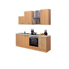 Küche mit Geschirrspüler Küchenzeile Küchenblock Elektrogeräte 220 cm buche