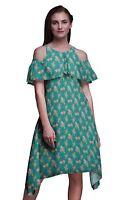 Bimba Print Flutter Sleeve Women's Party Tunic Cold Shoulder Midi Dress-FL-739C