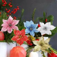 5 Pcs Glitter Poinsettia Flower Christmas Wreath Tree Decorations Xmas Gift NEW