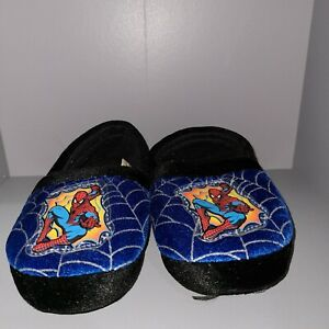 BUSTER & BROWN BABY TODDLER SZ 7-8 SLIPPERS SPIDERMAN THEME SOFT BLUE