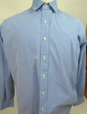 Polo Ralph Lauren-Mens Long Sleeve Shirt-Blue Micro Checks- Size Large-Hong Kong