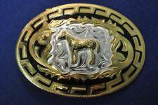 Lonestar Silversmith Standing Horse Gold Aztec Border Western Belt Buckle #9