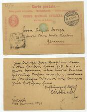 22378 - Ganzsache - Postkarte - Zürich (Neumünster) 20.1.1895 nach Genua