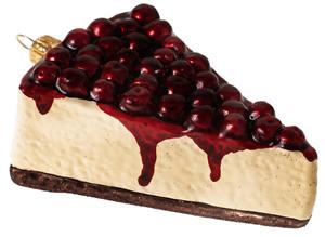 Cheesecake Cherry Slice Food Polish Glass Christmas Ornament 110346