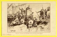 cpa Illustration de P. KAUFFMANN Invasion des NORTHMEN sur les RIVES de la SEINE