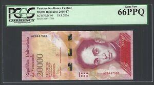 Venezuela 20000 Bolivares 18-8-2016 P99 Uncirculated Graded 66