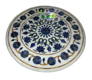 "24"" White Marble Dining Table Top Lapis Lazuli Gems Inlay Work Home Decor Polish"