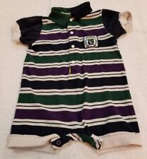 Toddler Boy's Baby Togs Size 2T 3T (Estimated) Green/Navy/Purple/White Stripe...
