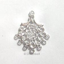 2x Sterling Silver Flower Filigree Chandelier Earrings Necklace Connector se391w