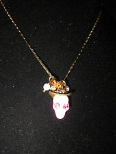 BETSEY JOHNSON LADY LUCK PINK SKULL WITH HAT NECKLACE