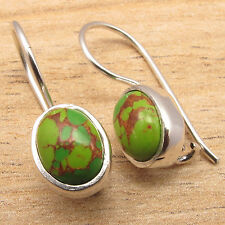 Turquoise Custom Fit Earrings Economic 925 Silver Plated Green Copper