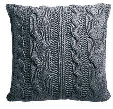 Zierkissen WOOL handgestrickt mit Füllung grau - 60 x 60 cm