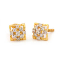 Natural 0.23 Ct Diamond Pave Floral Earrings 14K Rose Gold Fine Jewelry