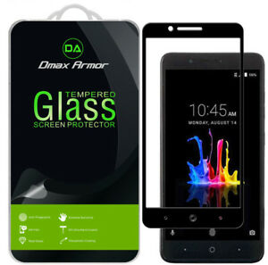 Dmax Armor for ZTE ZMAX Pro 2 Tempered Glass Full Cover Screen Protector -Black