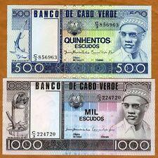 SET, Cape Verde 500;1000 Escudos, 1977, P-55-56,  UNC > Amilcar Cabral