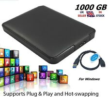 "1TB 1000GB Black 2.5"" USB 3.0 Portable Backup External Hard Drive for Windows"