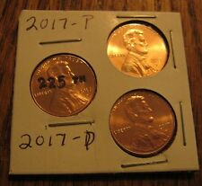 2017 P&D SHIELD LINCOLN CENT FROM OBW ROLL -AND THE 225TH ANNIVERSARY PENNY