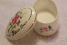 Free Shipping!  Lovely Oval Crown Staffordshire England Motto Trinket Box