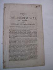 Government Doc. Politics Anti Slavery Speech Henry Lane Indiana Prisoners 1862