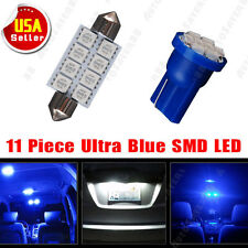 """11 PCS Blue LED Interior Lights Deal For T10 License Plate + 6411 Dome Map 1.72"""""""