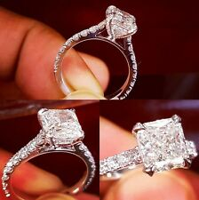 Lovely 1.30 Ct Radiant Cut Diamond U-Setting Engagement Ring F,VS2 GIA 14K WG