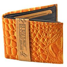 Mens Genuine Leather Bifold Wallet ID Credit Card Holder Alligator Flap Up Case
