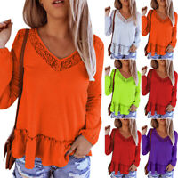 Plus Size Womens Lace V-neck Long Sleeve T-shirt Casual Jumper Tops Slim Blouse