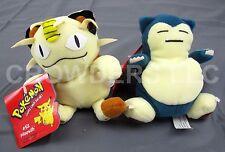 Pokemon Beanbag Plush #52 Meowth & #143 Snorlax Hasbro Nintendo 1998 New w/ Tags